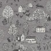Grove by Makower UK - 6733 - Countryside Scenic in Dark Grey   - 2159_S7 - Cotton Fabric